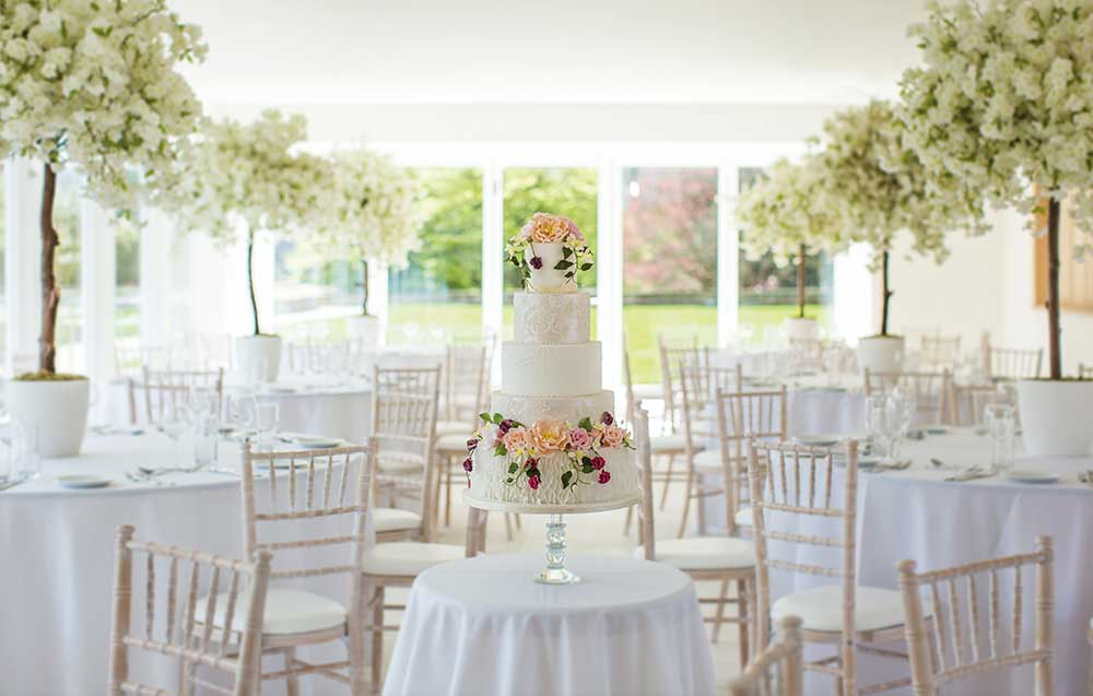 Wedding cake in valentia room in Arley House