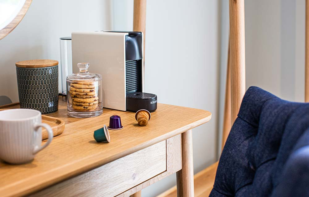 Dressing table with coffee machine