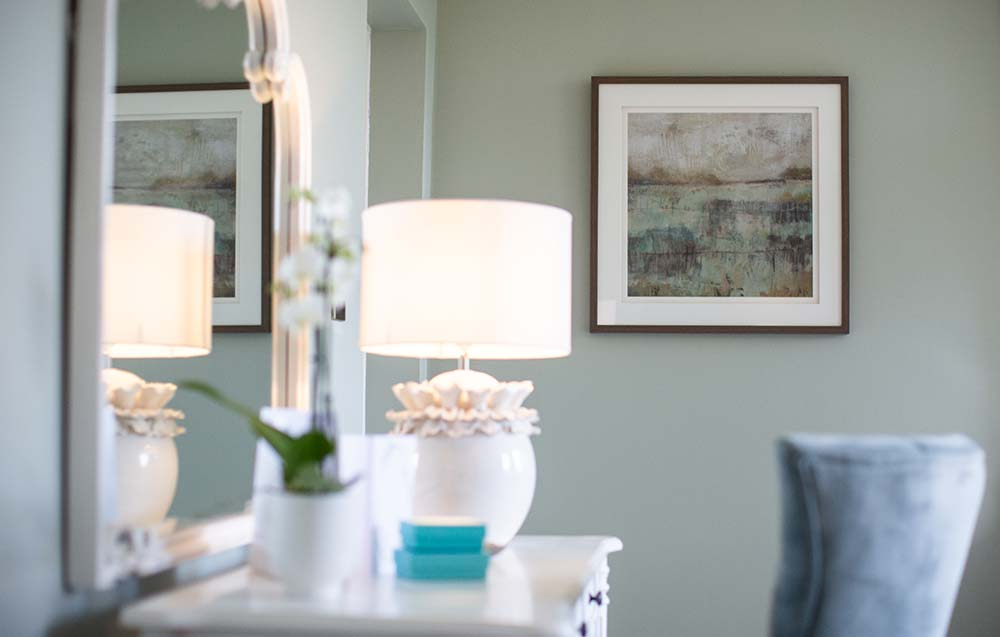 Dressing table with lamp